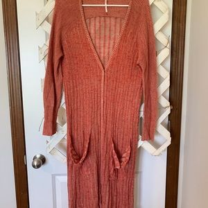 Long orange knit cardigan